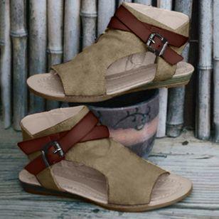 Women's Buckle Slingbacks Cloth Low Heel Sandals_4