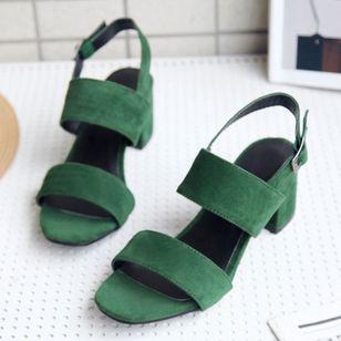 Women's Buckle Slingbacks Nubuck Chunky Heel Sandals_3