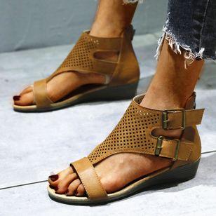 Women's Buckle Hollow-out Flats Flat Heel Sandals_4