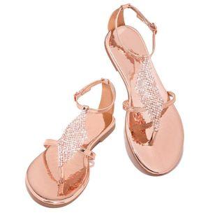 Women's Crystal Flip-Flops Flat Heel Sandals_8