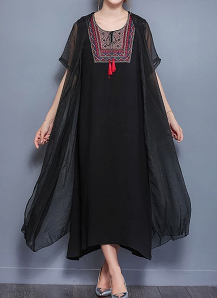 Elegant Geometric Wrap Round Neckline Shift Dress_7