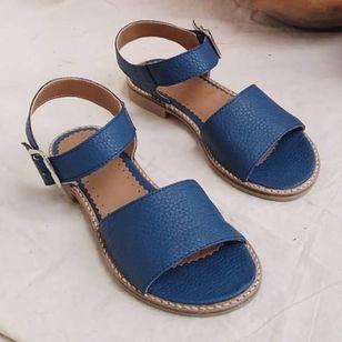 Women's Buckle Round Toe Low Heel Sandals_3