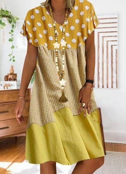 Black Plus Size Tunic Polka Dot V-Neckline Casual Knee-Length Plus Dress_2