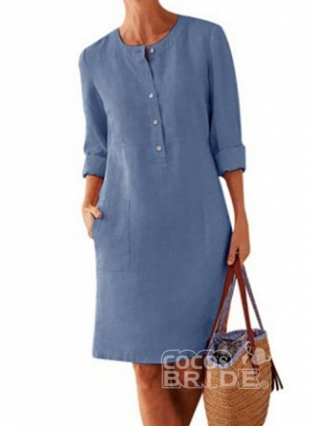 Light Gray Plus Size Solid Round Neckline Casual Pockets Above Knee Plus Dress_4