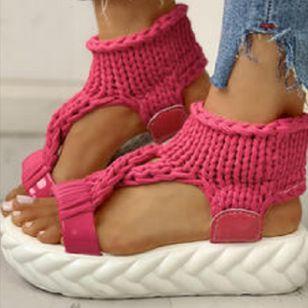 Women's Knit Slingbacks Fabric Flat Heel Sandals Platforms_2