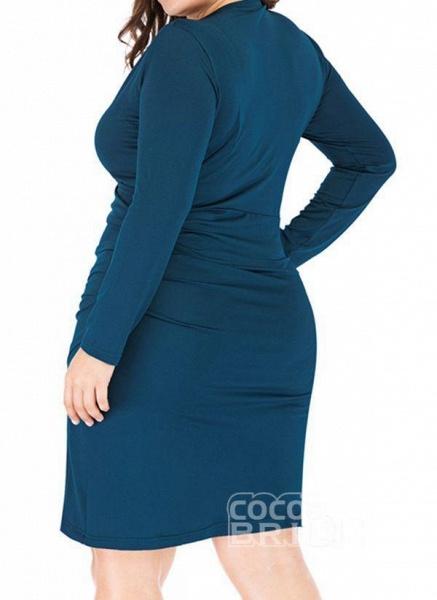 Black Plus Size Pencil Solid V-Neckline Casual Knee-Length Plus Dress_3