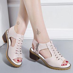 Women's Zipper Slingbacks Chunky Heel Sandals_1