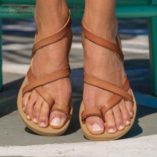 Women's Toe Ring Flat Heel Sandals_2
