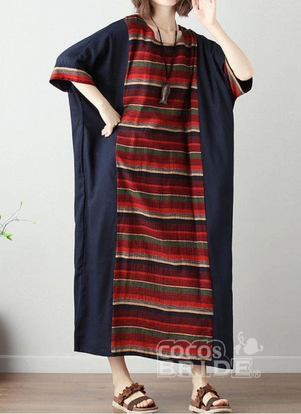 Green Plus Size Tunic Color Block Round Neckline Casual Midi Plus Dress_6