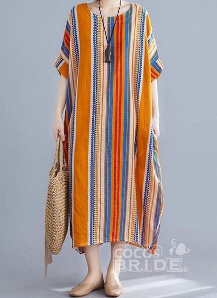 Orange Plus Size Tunic Stripe Round Neckline Casual Midi Plus Dress_3