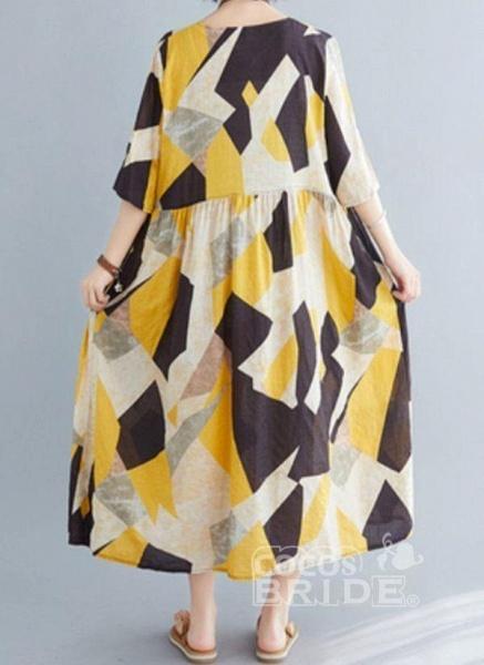Yellow Plus Size Tunic Color Block V-Neckline Casual Midi Plus Dress_3