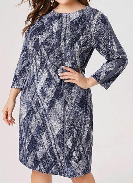 Blue Plus Size Color Block Round Neckline Casual Knee-Length Shift Dress Plus Dress_1