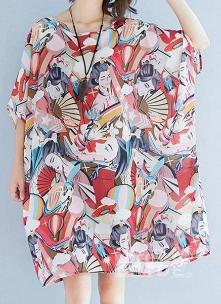 Pink Plus Size Tunic Color Block Round Neckline Casual Above Knee Plus Dress_8