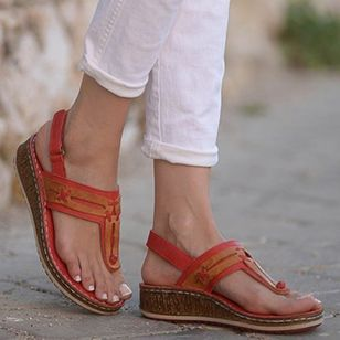 Women's Slingbacks Toe Ring Wedge Heel Sandals_5