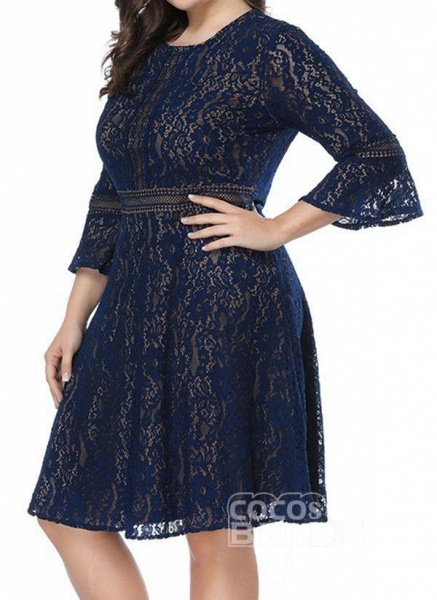 Green Plus Size Skater Solid Round Neckline Casual Lace Plus Dress_4