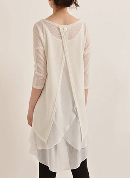 Casual Solid Hollow Out Round Neckline A-line Dress_1