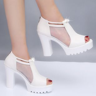 Women's Mesh Zipper Peep Toe Chunky Heel Sandals_2