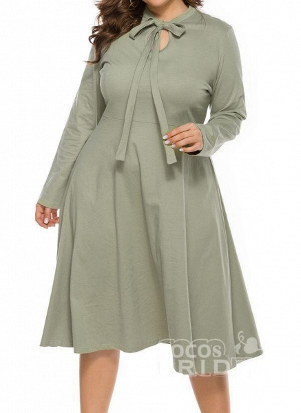 Light Green Plus Size Skater Solid Round Neckline Casual Hollow Out Plus Dress_5