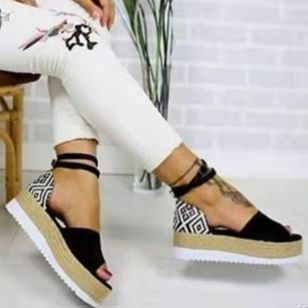 Women's Buckle Flats Cloth Flat Heel Sandals Platforms_4