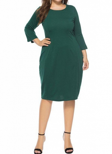 Green Plus Size Pencil Solid Round Neckline Casual Knee-Length Plus Dress_1