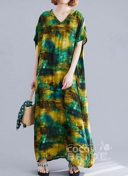 Green Plus Size Tunic Color Block V-Neckline Maxi Plus Dress_5