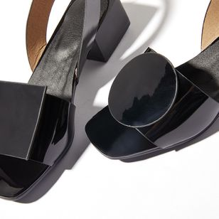 Women's Others Square Toe Patent Leather Low Heel Sandals_2