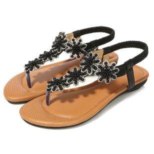 Women's Beading Slingbacks Cloth Flat Heel Sandals_3