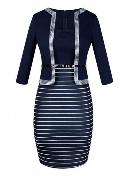 Elegant Color Block Wrap Pencil Bodycon Dress_7