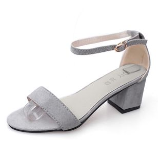 Women's Ankle Strap Peep Toe Nubuck Chunky Heel Sandals_6