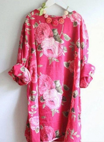 Red Plus Size Tunic Floral Round Neckline Casual Above Knee Plus Dress_1