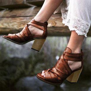 Women's Buckle Zipper Heels Chunky Heel Sandals_2