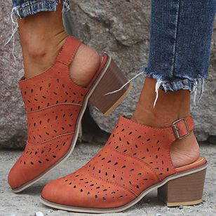 Women's Buckle Hollow-out Closed Toe Heels Chunky Heel Sandals_3