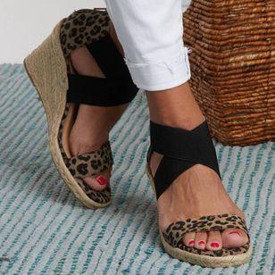 Women's Leopard Zipper Round Toe Heels Wedge Heel Sandals_2