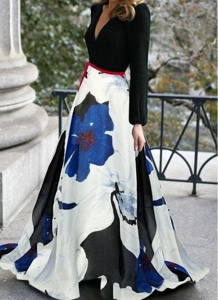 Black Casual Floral Sashes V-Neckline X-line Dress_1