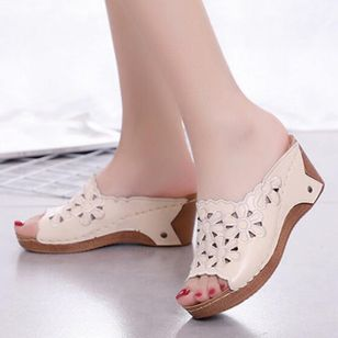 Women's Hollow-out Flower Slingbacks Wedge Heel Sandals_1