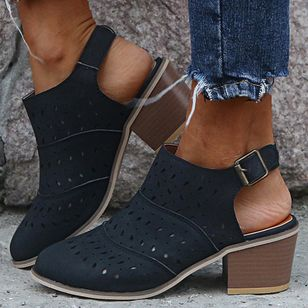 Women's Buckle Hollow-out Closed Toe Heels Chunky Heel Sandals_4