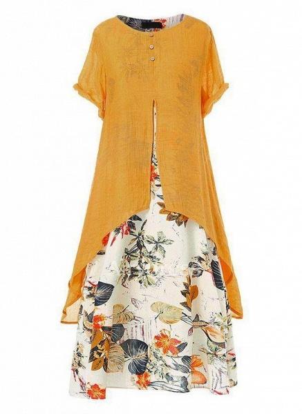 Orange Plus Size Tunic Floral Round Neckline Casual Maxi Plus Dress_1