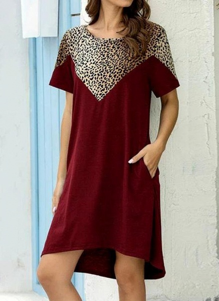 Burgundy Plus Size Tunic Leopard Round Neckline Casual Pockets Plus Dress_7