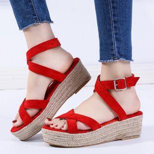 Women's Buckle Slingbacks Nubuck Low Heel Sandals Platforms_6