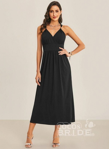 Black Sexy Solid Slip Camisole Neckline Sheath Dress_5