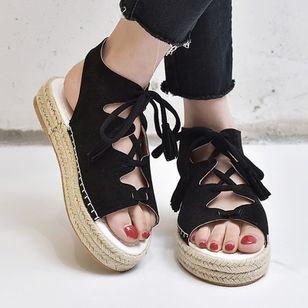 Women's Lace-up Slingbacks Cloth Wedge Heel Sandals_1
