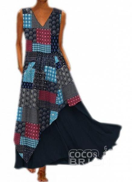 Yellow Casual Geometric Tunic V-Neckline A-line Dress_4