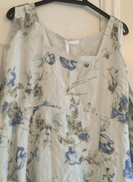 White Plus Size Tunic Floral Round Neckline Casual Midi Plus Dress_1
