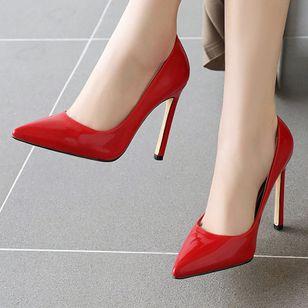 Women's Pointed Toe Heels Patent Leather Stiletto Heel Sandals_5