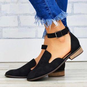 Women's Buckle Closed Toe Low Heel Sandals_8