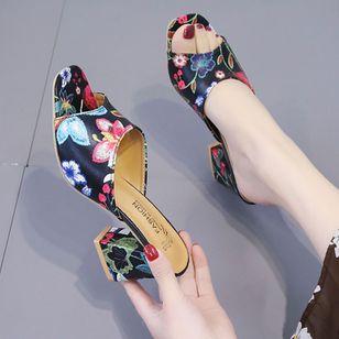 Women's Flower Heels Chunky Heel Sandals_1