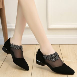 Women's Mesh Hollow-out Flower Closed Toe Pointed Toe Low Heel Sandals_3