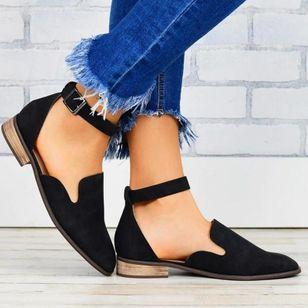Women's Buckle Closed Toe Low Heel Sandals_4