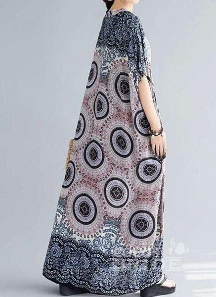Dark Blue Plus Size Tunic Floral V-Neckline Casual Knee-Length Plus Dress_2