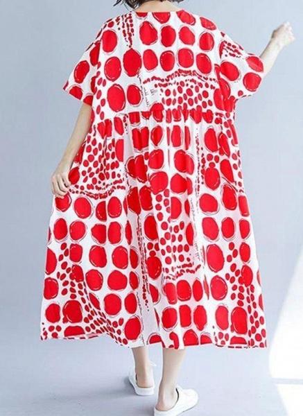 Red Plus Size Tunic Polka Dot Round Neckline Casual Midi Plus Dress_1